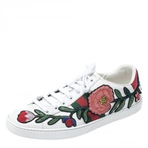 حذاء رياضي غوتشي منخفض من أعلى Ace جلد مطرز زهور أبيض مقاس 39
