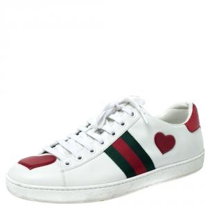 حذاء رياضي غوتشي أربطة تفاصيل قلب ويب Ace جلد أبيض مقاس 39