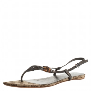 Gucci Grey Leather Bamboo Icon Thong Flat Sandals Size 38 - used