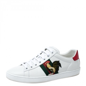 حذاء رياضي غوتشي Ace  تفاصيل ويب Rooster حافة جلد ثعبان ميتالك وجلد أبيض مقاس 38