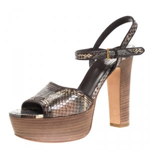 Gucci Multicolor Python And Leather Trim Danielle Platform Ankle Strap Sandals Size 38 - used