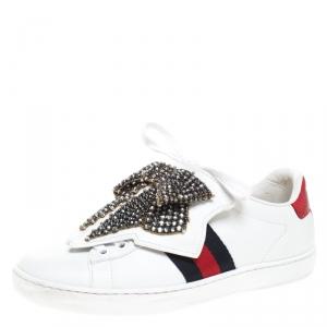 حذاء رياضي غوتشي أربطة فيونكة خرز Ace جلد أبيض مقاس 35