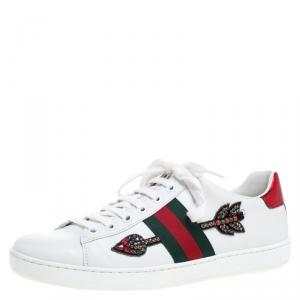 حذاء رياضي غوتشي منخفض من أعلى Ace جلد مزخرف سهم أبيض مقاس 38.5