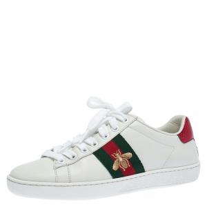 حذاء رياضي غوتشي منخفض من أعلى نحلة مطرز Ace جلد أبيض مقاس 35