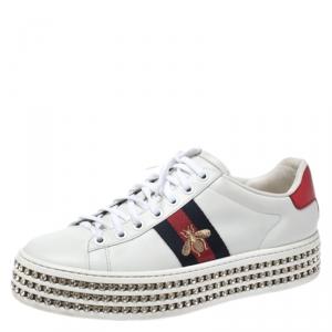 حذاء رياضي غوتشي نعل سميك مزخرف كريستال New Ace تفاصيل ويب نحلة وجلد أبيض مقاس 37