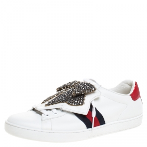 حذاء رياضي غوتشي أربطة فيونكة كريستال Ace جلد أبيض مقاس 41