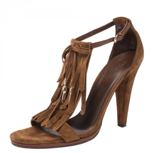 Gucci Brown Suede Fringe Bow Slingback Sandals Size 39.5 - used