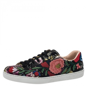Gucci Multicolor Brocade Fabric Floral Embroidered Ace Low Top Sneakers Size 40