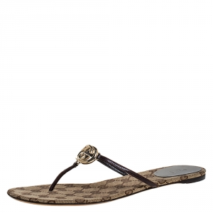"Gucci Brown Leather Interlocking ""GG"" Thong Sandals Size 39"