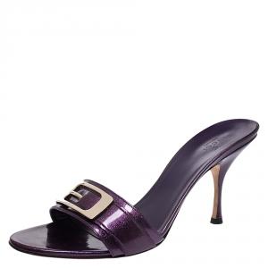 Gucci Purple Glitter Patent Leather Open Toe Sandals Size 39.5 - used