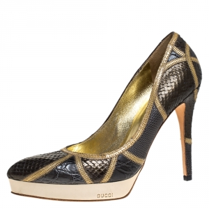 Gucci Dark Grey/Grey Mixed Python And Croc Pointed Toe Platform Pumps Size 38