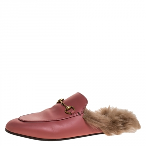 Gucci Pink Leather And Fur Princetown Flat Mules Size 38