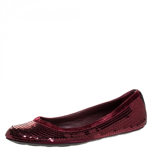 Gucci Burgundy Satin Sequin Ballet Flats Size 38 - used