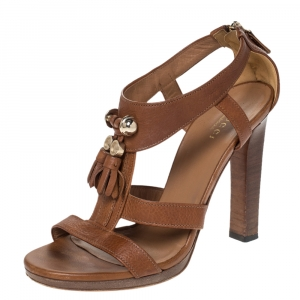 Gucci Brown Leather Marrakech Tassel Detail T-Strap Sandals Size 37 - used
