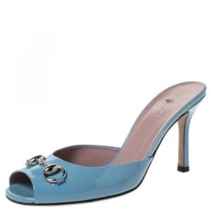 Gucci Blue Patent Leather Horsebit Open Toe Sandals Size 36.5