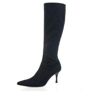 Gucci Black Guccissima Canvas Pointed Toe Mid Calf Boots Size 39