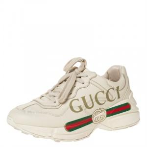 Gucci Ivory Leather Rhyton Vintage Logo Platform Sneakers Size 38