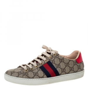 Gucci Beige GG Supreme Canvas And Web Ace Lace Up Sneakers Size 39