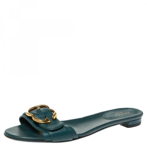 Gucci Green Leather Sachalin Buckle Detail Flat Slides Size 35.5 - used