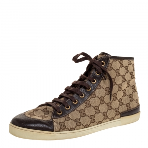 Gucci Brown/Beige GG Canvas And Leather Trim High Top Sneakers Size 41