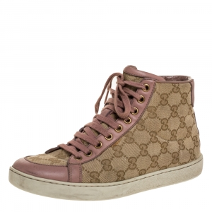 Gucci Beige/Pink GG Original Canvas and Leather Brooklyn High Top Sneakers Size 37