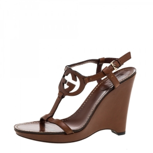 Gucci Brown Leather Interlocking G T-Strap Wedge Sandals Size 37 - used