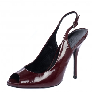 Gucci Burgundy Patent Leather Peep Toe Slingback Sandals Size 37.5 - used