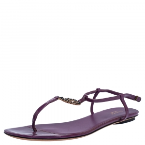 Gucci Purple Patent Leather GG Interlocking Ankle Strap Flat Sandals Size 39 - used