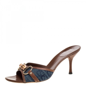Gucci Blue Denim And Leather Trim Horsebit Open Toe Sandals Size 39 - used