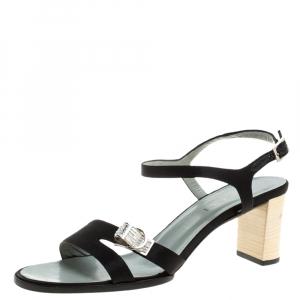 Gucci Black Satin Buckle Embellished Block Heel Ankle Strap Sandals Size 38 - used
