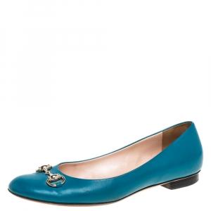 Gucci Teal Leather Horsebit Ballerina Flat Size 40