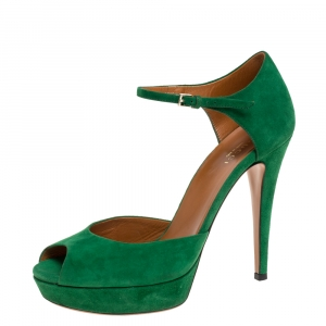 Gucci Green Suede Peep Toe Ankle Strap Platform Sandals Size 37