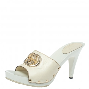 Gucci White Leather GG Open Toe Platform Clog Sandals Size 38