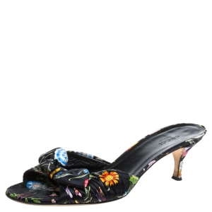 Gucci Black Floral Print Satin Bow Open Toe Sandals Size 37.5