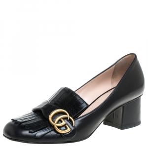 Gucci Black Leather GG Marmont Pumps Size 38.5