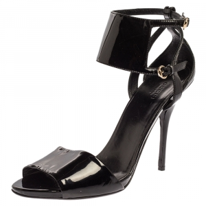 Gucci Black Patent Leather Open Toe Ankle Strap Sandals Size 40.5