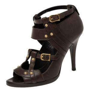 Gucci Dark Brown Leather Strappy Ankle Strap Sandals Size 38 - used