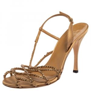 Gucci Gold Satin Crystal Embellished Sandals Size 37.5