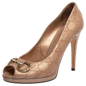 Gucci Blush Pink Guccissima Leather New Hollywood Horsebit Peep Toe Pumps Size 37.5