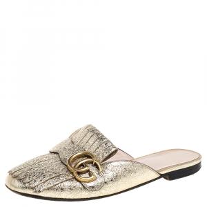 Gucci Gold Foil Leather Marmont Kiltie GG Fringe Mules Size 36.5