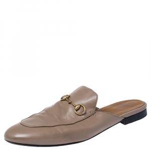 Gucci Dark Beige Leather Princetown Horsebit Mules Size 42