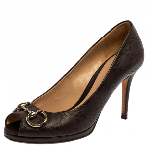 Gucci Brown Monogram Leather Horsebit Peep Toe Pumps Size 37.5
