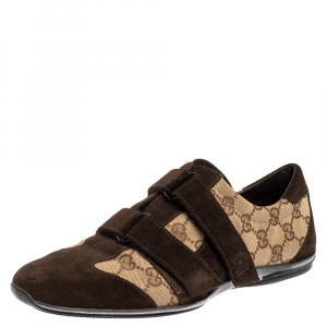 Gucci Brown Guccissima Canvas and Suede Velcro Sneakers Size 40