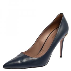 Gucci Blue Leather Adina Horsebit Pointed Toe Pumps Size 39