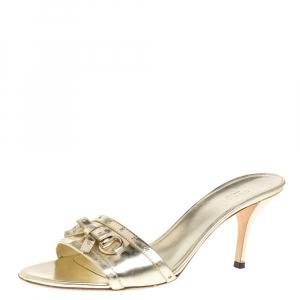 Gucci Gold Patent Leather Bow Detail Horsebit Slides Size 40C