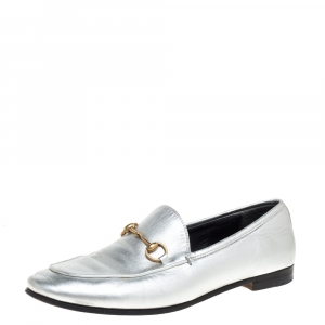 Gucci Silver Leather Jordaan Horsebit Slip On Loafers Size 39