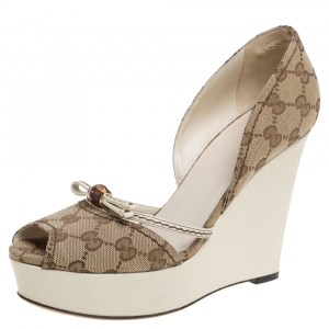 Gucci Beige GG Canvas Bamboo Peep Toe D'orsay Wedge Sandals Size 38.5