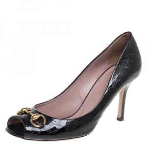 Gucci Black Patent Leather Horsebit Peep Toe Pumps Size 39.5