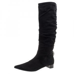 Gucci Black Suede Scrunch Calf Length Boots Size 39