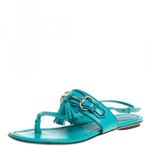 Gucci Blue Leather Tassel Horsebit Thong Flat Sandals Size 36 - used
